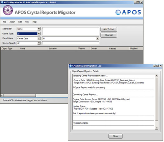 apos bi4 crystal  reports migrator